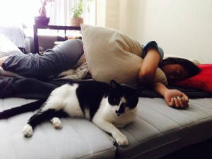 Sleeping peacefully with cat